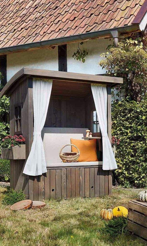 strandkorb aus holz strandkorb in h ttenoptik mit. Black Bedroom Furniture Sets. Home Design Ideas