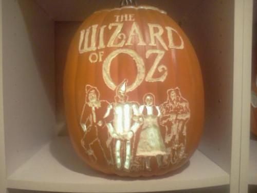Wizard of Oz pumpkin carved