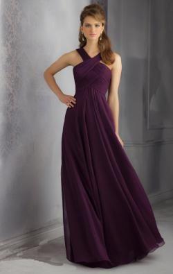 image of Impressions Grape Long Bridesmaid Dress BNNBE0007