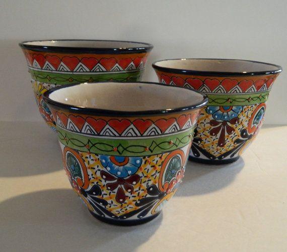 Beautiful Set of 3 Talavera Bell-shaped Pots