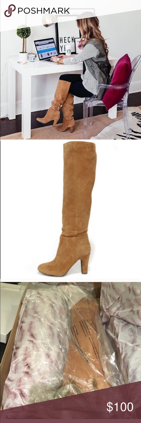 Jessica Simpson split suede tan knee high boots Brand new in box, genuine suede Jessica Simpson Shoes Heeled Boots