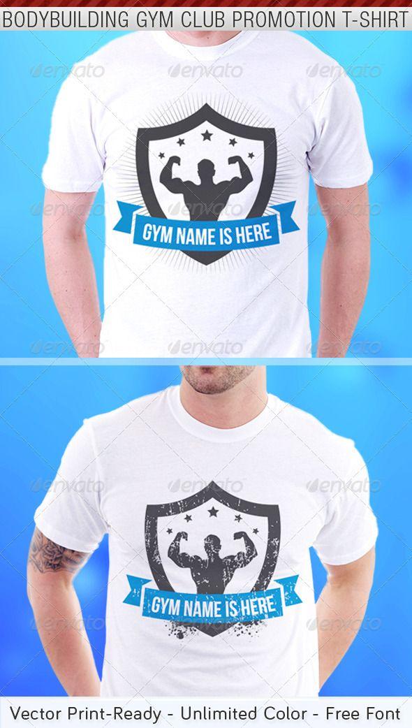 Bodybuilding Gym Club Promotion T-Shirt Template - Sports & Teams T-Shirts