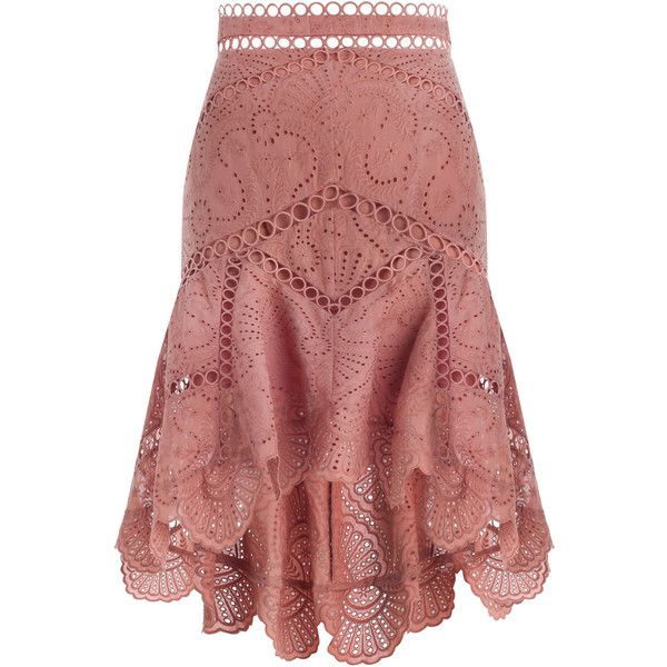 ZIMMERMANN Jasper Fan Skirt ($480) ❤ liked on Polyvore featuring skirts, knee length swim skirt, high waisted skirts, scalloped skirt, high waisted circle skirt and red high waisted skirt