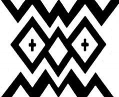 Diseño mapuche. Representa un par de ojos, que son el medio para mostrar el alma. Gentileza Fundación Chol Chol, Chile. - Guardas aborígenes