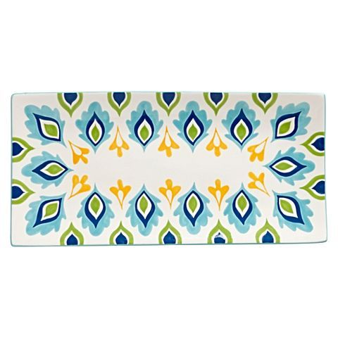 Present your fine dishes in colourful style with the vibrant design of the ceramic Allegra Rectangular Platter from Casa Domani.