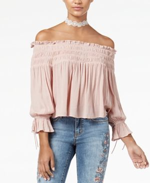 American Rag Juniors' Off-The-Shoulder Top, Created for Macy's - Pink XXS