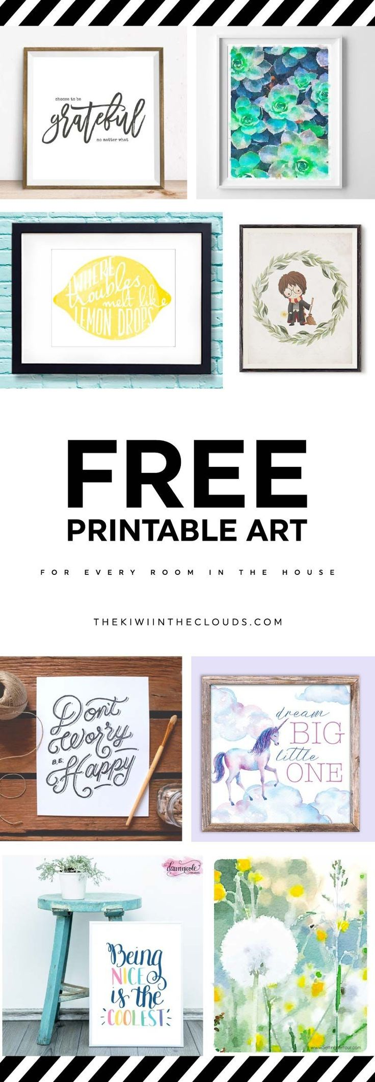 Decorate every blank wall in your home with these free printable art prints. There are inspirational prints, watercolor prints and more!