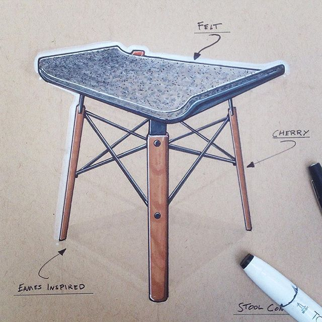 Eames inspired felt stool #tonedpaper #furnituredesign #idsketching #productdesign #touchmarker#sketching
