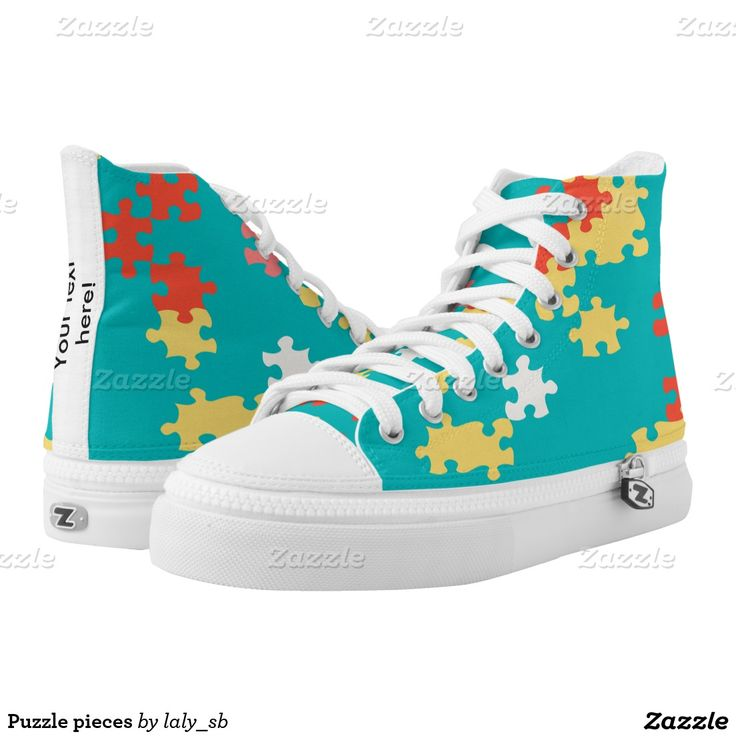 Puzzle pieces printed shoes