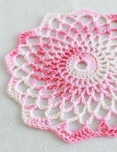 Free Crochet Pattern Shaded Pinks Doily