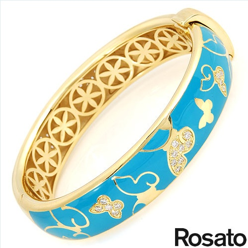$279.00  ROSATO Made in Italy Irresistible Brand New Bracelet With 1.25ctw Cubic zirconia  Blue Enamel and 14K/925 Gold plated Silver. Total item weight 48.4g  Length 7in - Certificate Available.