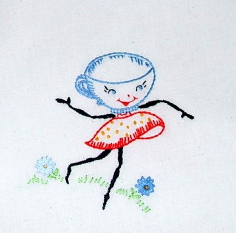 A LITTLE SUGAR IN YOUR TEA - Hand embroidered tea towel with vintage embroidery design