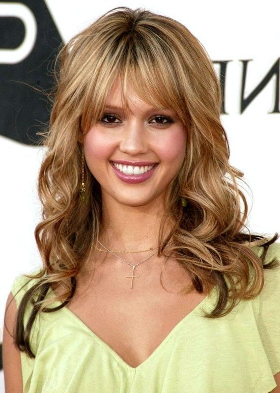 2015+hair+with+bangs | jessica alba hairstyles with bangs 2015 Long Curly Harstyles Blonde ...