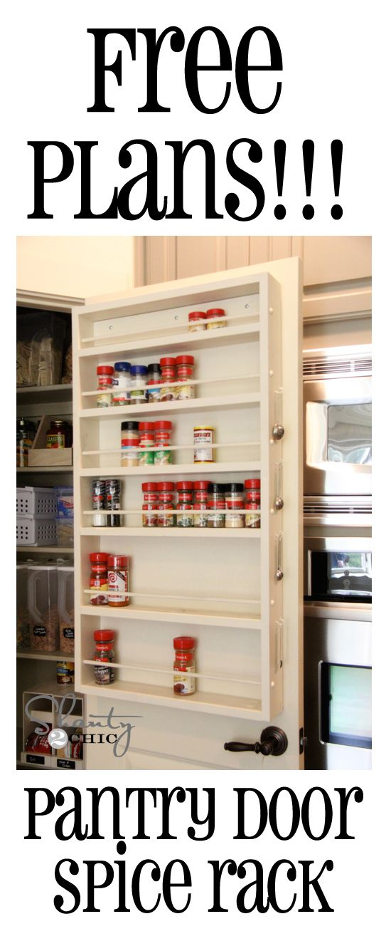 Free plans for this spice rack! This can go on a door or wall... LOVE it!