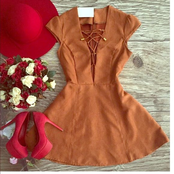 """Suede tan tip up dress """"to be or not to be"""" """"To be or not to be suede dress"""" sexy or cute style • tan • Size S/M brand new Dresses Mini"""