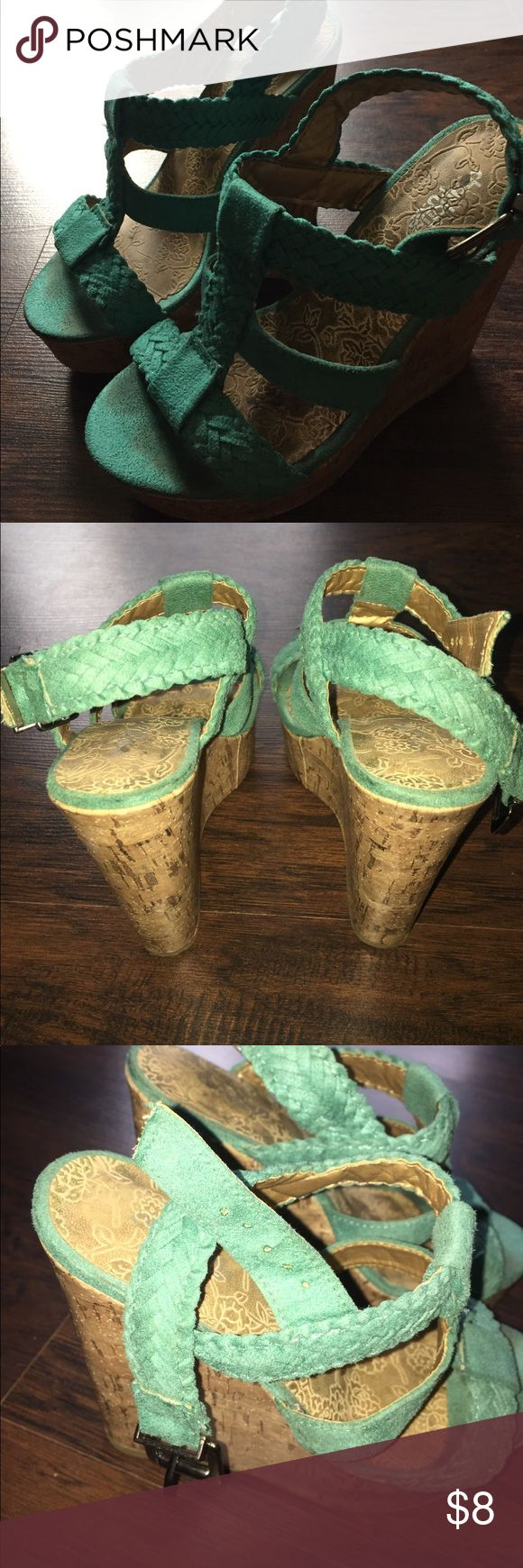 Torquise/teal wedges Charlotte Russe Super comfortable, good condition. Torquise/teal color Charlotte Russe Shoes Wedges
