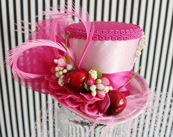 Pink Mini Top Hat, Bridal Hat, Mini Hats, Tea Party Hat, Mad Hatter Hat, Pink…