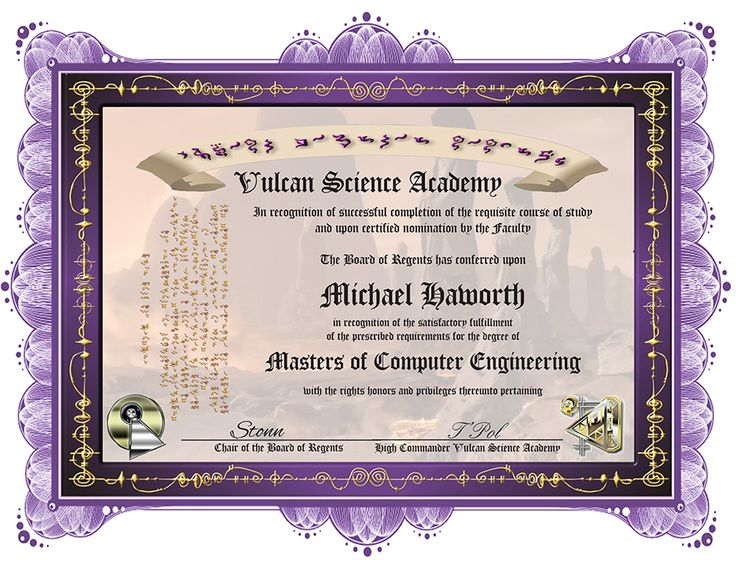 Proudly show off your diploma from the Vulcan Science