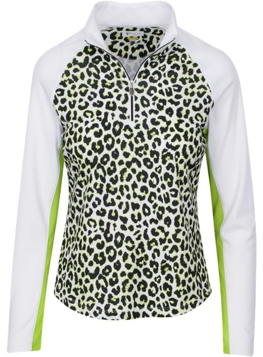 Citrus Green Greg Norman Ladies Solar XP 1/4-Zip Leopard Print Golf Polo Shirt. Find more animal print ladies outfits at #lorisgolfshoppe