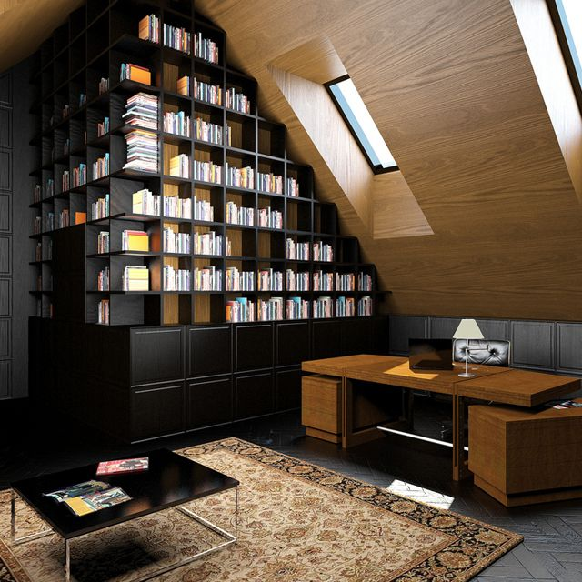 Slanted roof library