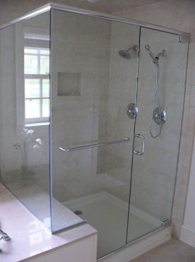 glass shower enclosure frameless with towel bar ...