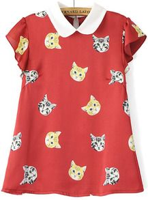 Doll Collar Cat Print Red Top