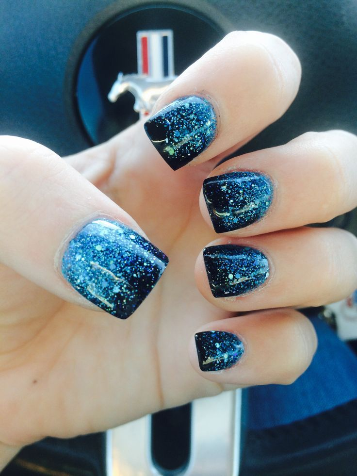 Nails Mylar Black Blue Glitter Nail Design, Nail Art, Nail