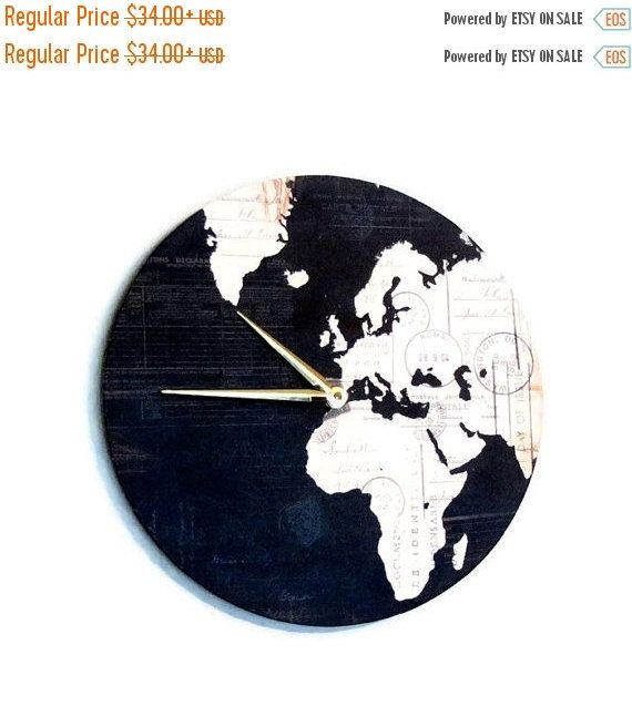 27 best world map clocks images on pinterest world maps wall sale sale unique wall clock etsy art home and living map gumiabroncs Images