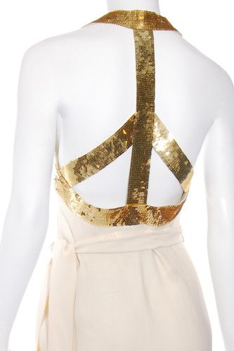 Vtg 80s Franco MOSCHINO COUTURE Backless Gold Sequin PEACE SIGN Wrap Dress