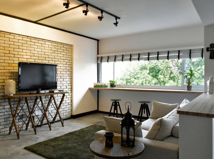 Nice feature wall/track lighting combination... Lack of grilles looks awesome. Window bar is gorgeous!
