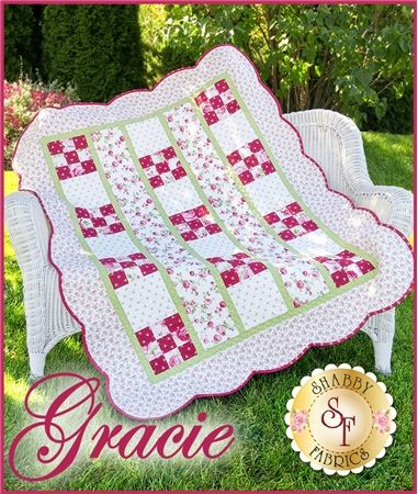 Gracie Pattern: This beautiful Gracie Quilt makes a lovely addition to a special baby girl's nursery. This quilt is quick and simple yet it has a sweet and elegant look about it. Quilt finishes to 45