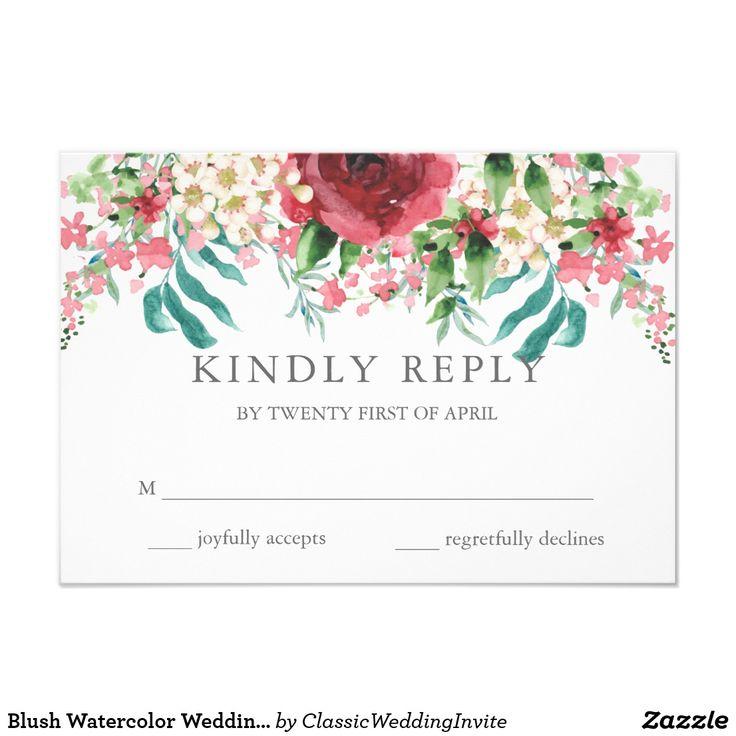 Blush Watercolor Wedding RSVP Card