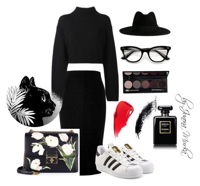 """""""Colour magic - Black"""" by murka-juna on Polyvore featuring Victoria Beckham, adidas Originals, DKNY, ZeroUV, Chanel, Yves Saint Laurent and Dolce&Gabbana"""