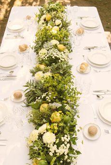 Italian-Inspired Lemon and Herb Runner | Wedding Flowers