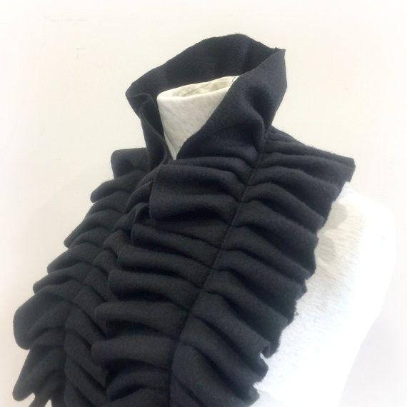 Black Fleece Scarf - Winter Fleece Scarf - Ruffled Fleece Scarf - Elegant Fleece Scarf - Women's Fleece Scarf - Gift For Her - Alice - Women's Fleece Scarf