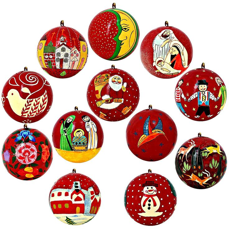 Set of 12 Bright Red Paper Mache Christmas Ornaments Handmade in Kashmir, India >>> Final call for this special discount  : Christmas Ornaments