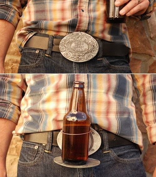 beer holder belt buckle. I believe this tops the last ridiculous belt buckle I gave as a gift!