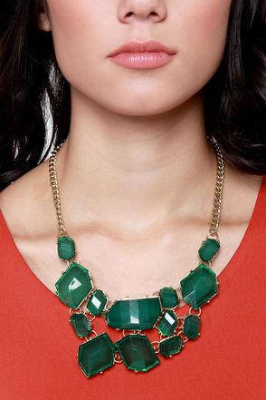 Stunning Statement Necklace - Crystal Necklace - Green Necklace - Gold Necklace - $43.00
