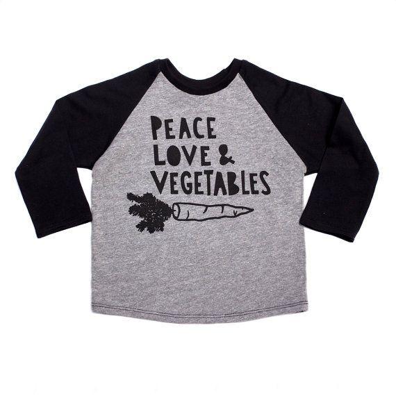Paz amor y verduras raglan de niños por PaulandPaulaShop en Etsy