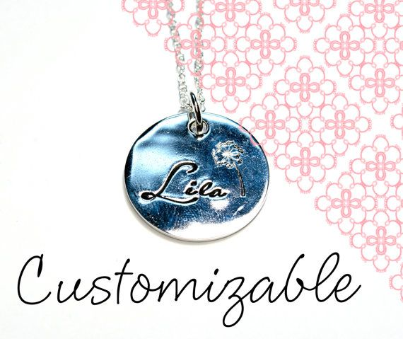 Customizable Sterling Silver Disc Necklace   #sterlingsilver #customjewelry #customnecklace #monogram #weddinggift #anniversarygift #bridesmaid #wedding
