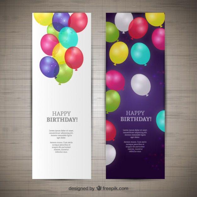 Счастливые баннеры на день рождения Бесплатные векторы