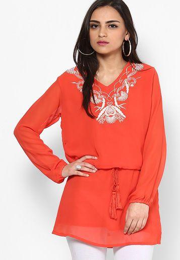 Georgette ethnic tunic top casual blouse kurti orange shirt #nisha #indiankurti