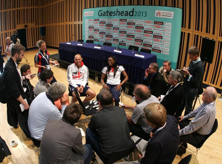 If you've ever wondered what a press conference looks like, here's one in full swing at Sage Gateshead for the European Athletics Team Championships 2013. As you can see, the media were hungry for info from Team GB's captain Perri Shakes-Drayton (400m) and Dai Greene (400m hurdles).