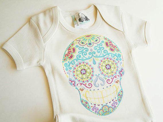 Trendy Baby Girl Clothing Rockabilly Sugar Skull Bodysuit 0 - 3 newborn month Punk Baby Girl. Ivory skull rockabilly baby clothes