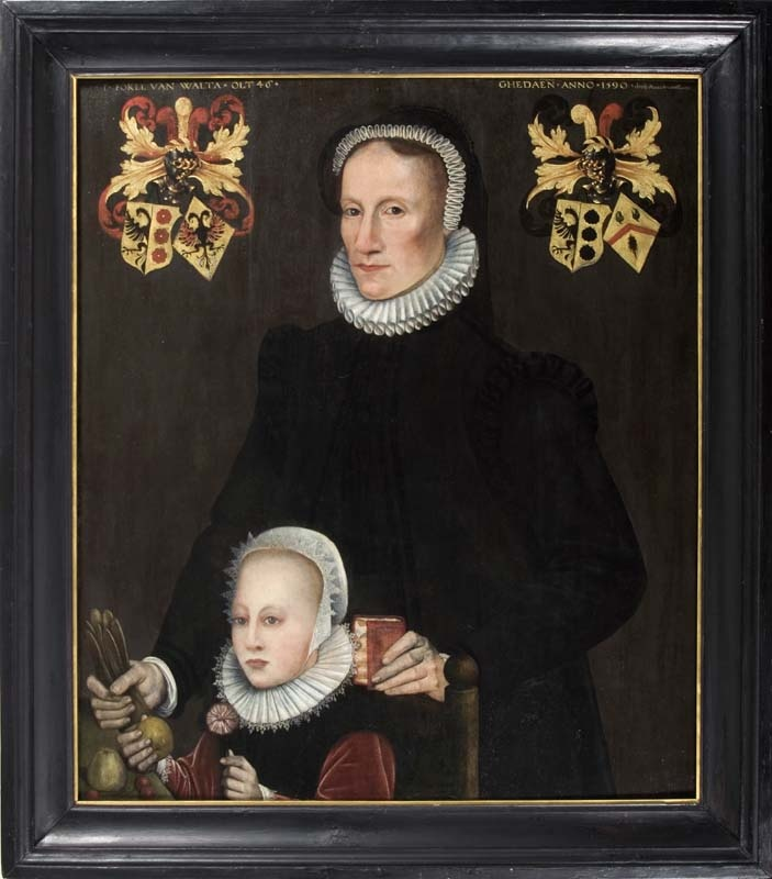 Portret van Fokel van Walta en haar dochter Tiedt van Botnia, Adriaen van Cronenburg, 1590, Fries Museum