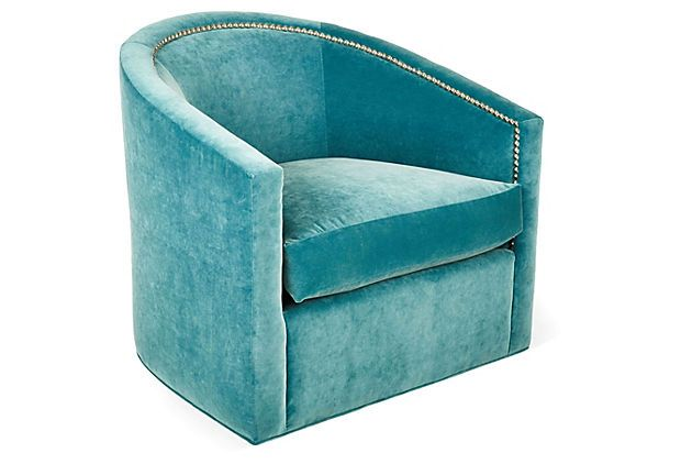 Georgia Barrel Swivel Chair Turquoise On Onekingslane Com