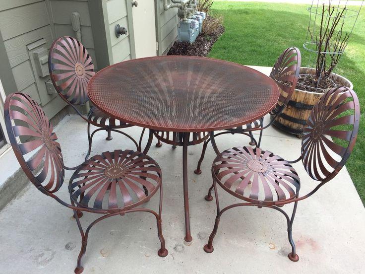 Francois Carre 1930s Garden Furniture SUNBURST Wrought Spring Steel 5 pcs Set   eBay