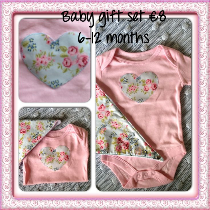 Blue vintage floral heart appliqued pink cotton bodysuit with matching bandana bib.