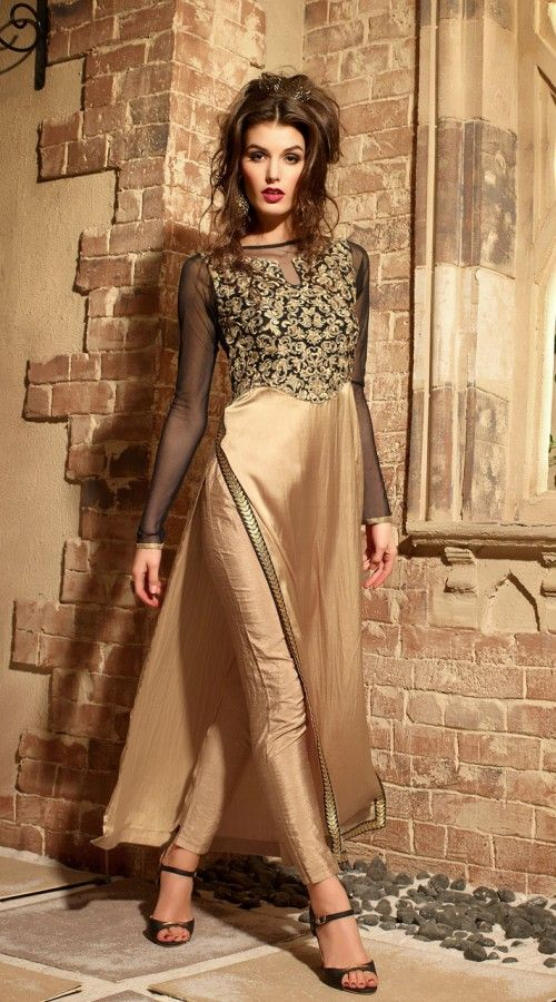 Classy Golden Pure Satin Yoke Embroidered Kameez With Cigarette Pant 3YS310707  Outstanding golden pure satin cigarette pant kameez which is imposingly made with embroidery work. This attire comes with matching bottom and dupatta. This outfit can be stitched in the maximum bust size of 42 inches.