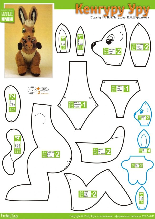 Kangaroo Uru:   Need for work or shaggy fur. Kangaroos have two-tone, so you can sew the exact same toy. Please note that building the body to sew a bag for the baby.   Well, baby you can do most of the remnants of fur, it should benefit a little.  http://prettytoys.ru/workroom/vykroyki/kenguru-uru/
